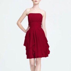David Bridal Apple Red Strapless Formal Dress